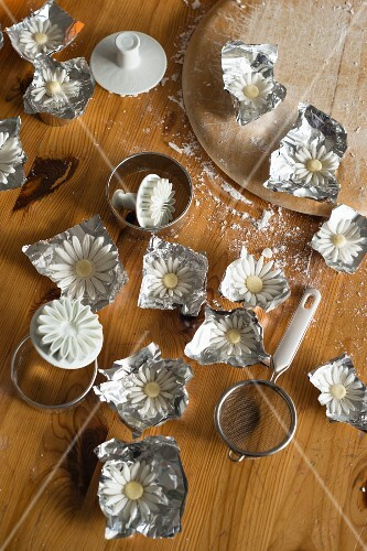 Sugar flowers drying on aluminium foil