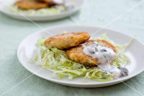 Fishcakes with a caper sauce