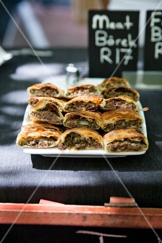 Borek filled with minced meat in a restaurant