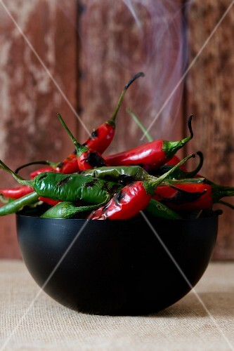 A bowl of roasted chilli peppers