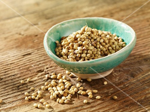 Coriander seeds in a dish
