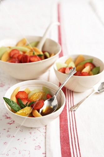 Fruit salad with a Pimms and mint syrup