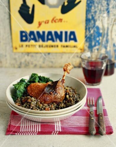 Duck confit with lentils
