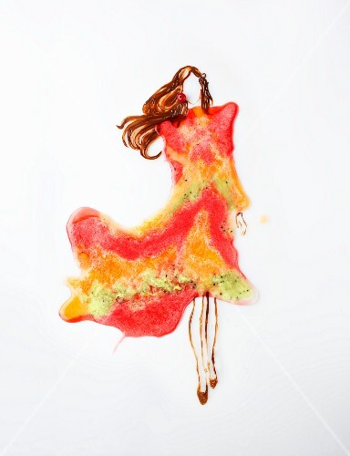 Fashion food: a woman wearing a dress made from fruit sorbet