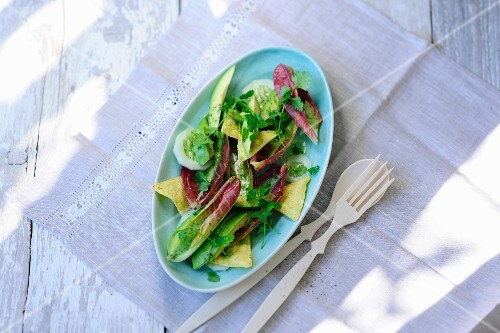 A mixed leaf salad with avocado, coriander and tortilla chips