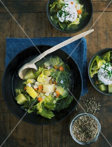 Savoy cabbage stew with sour cream flavoured with bread seasoning in a dark bowl with a wooden spoon
