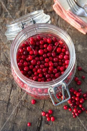 A jar of lingonberries