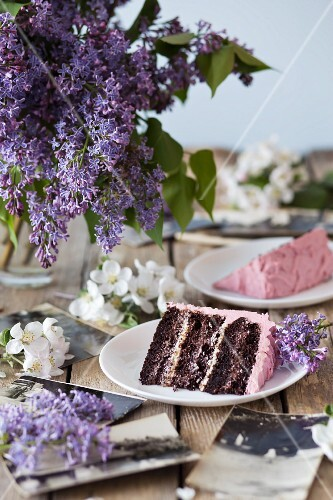 Slices of chocolate cake with raspberry cream on plates
