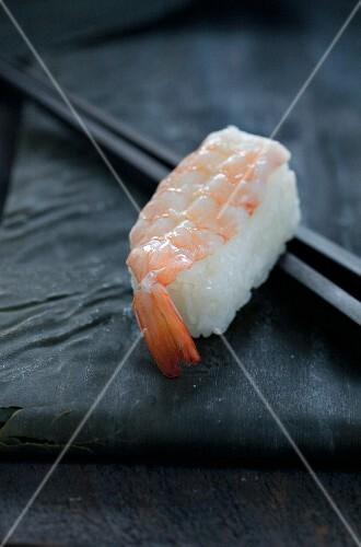 Ebi sushi with a prawn