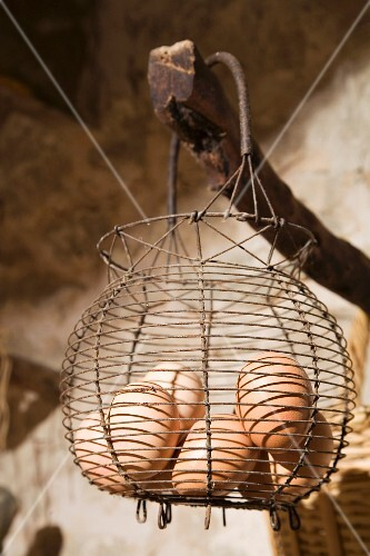 Eggs in rustic wire basket in vintage interior