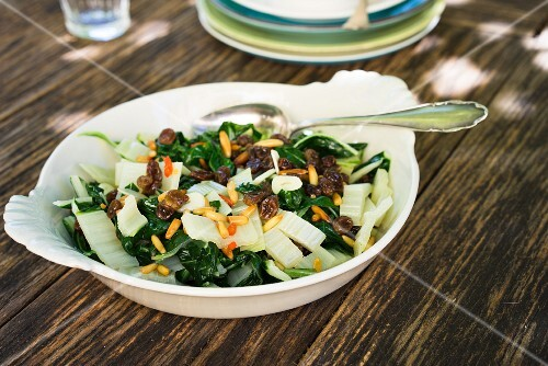 Blanched chard with raisins and pine nuts