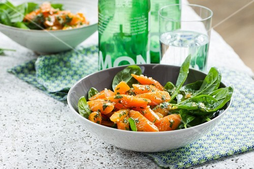 Oriental carrots with young spinach