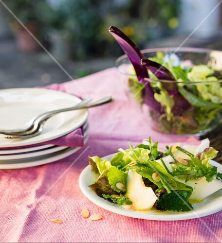 A summery salad with honeydew melon and fresh herbs