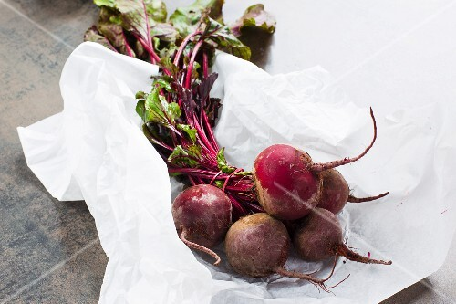 Fresh beetroot on a piece of paper