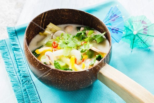 Thai vegan coconut soup with vegetables