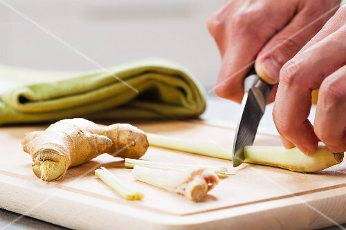 Ginger and lemon grass being prepared