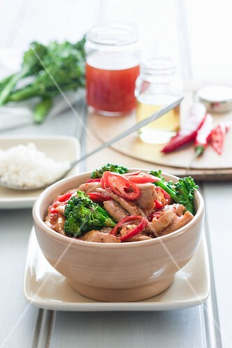 Pork with a ginger and plum sauce and broccoli