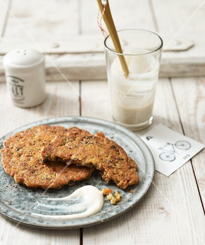 Chickpea and soya pancakes with vegan aioli made from silken tofu