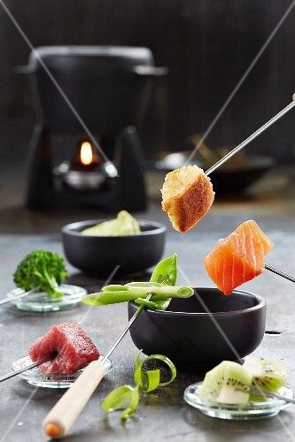 Fondue with ingredients