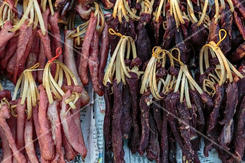 Dried beef and pork at a market (Vientiane, Laos)