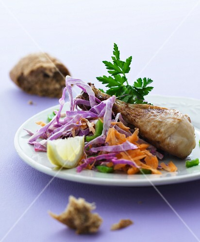 Chicken legs with a red cabbage salad