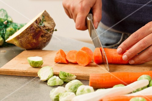 Vegetables being chopped and prepared