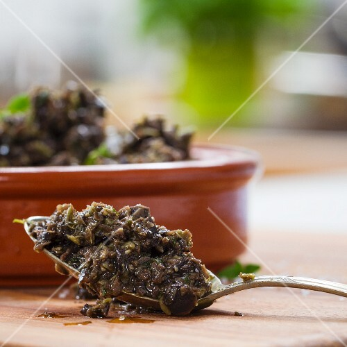 Tapenade on a spoon