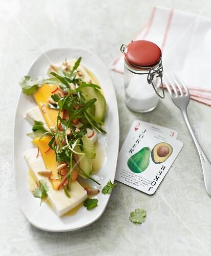 Mango and avocado salad with silken tofu