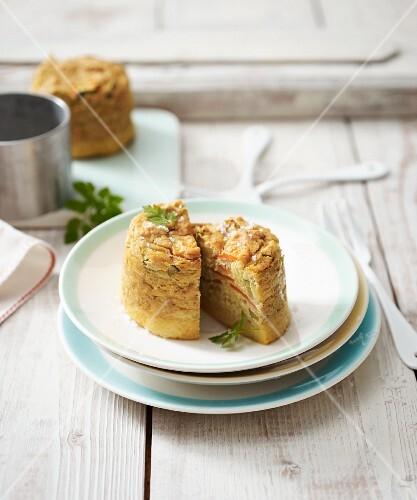 Mini vegan tartlet made from tofu, vegetables and polenta