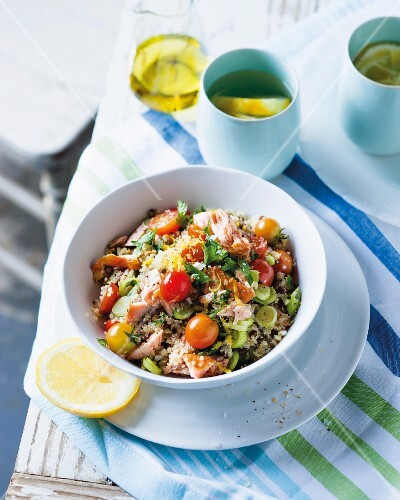 Quinoa and lentil salad with smoked salmon