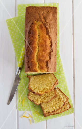 Lemon cake with a piece removed