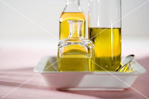 Various bottles of olive oil