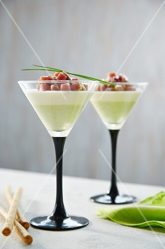 Asparagus panna cotta with diced bacon