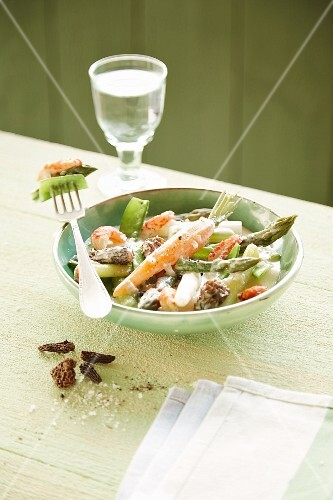 Asparagus with carrots, scampi and morel mushrooms