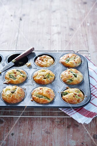 Asparagus muffins in a baking tin