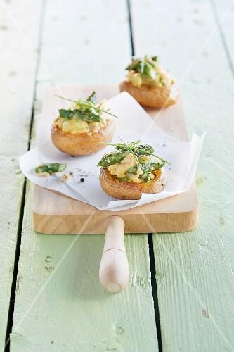 Stuffed potatoes with asparagus scrambled eggs