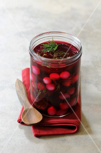 Pickled beetroot with silver onions and dill
