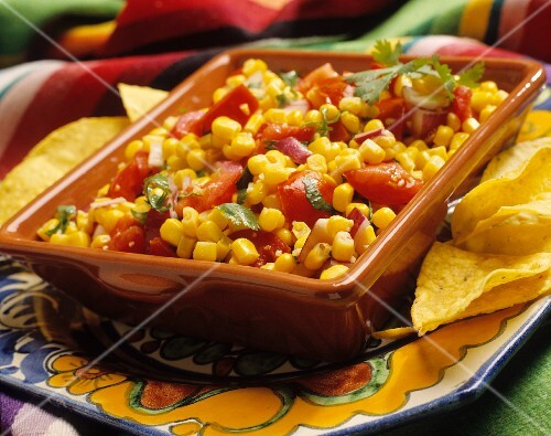 Sweetcorn salsa with Romato tomatoes and red onion (Mexico)