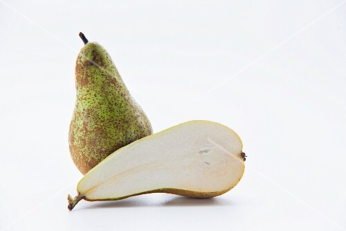 A whole pear and a half pear