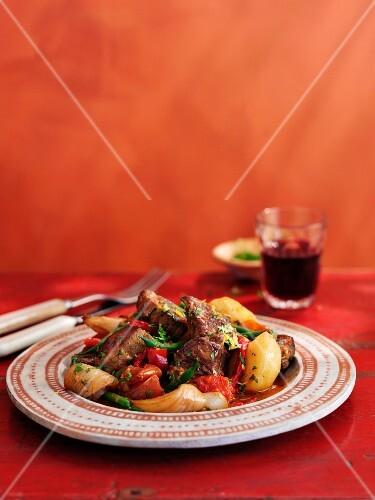 Caldereta Del Condado (braised lamb with vegetables, Spain)