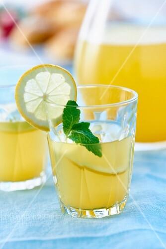A glass of lemonade garnished with a lemon slice and mint