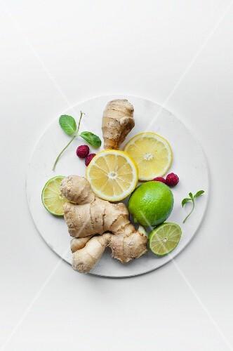Lemons, limes, ginger, raspberries and mint