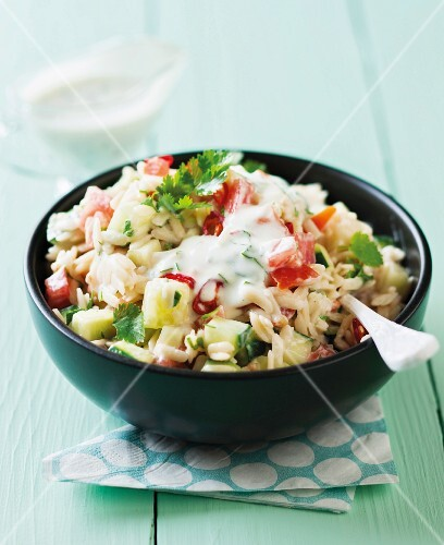 Rice noodle salad with mayonnaise dressing