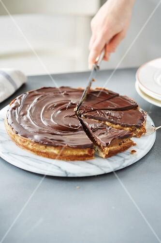 Chocolate and caramel pie