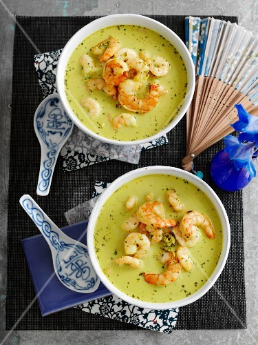 Green prawn and coconut soup with coriander