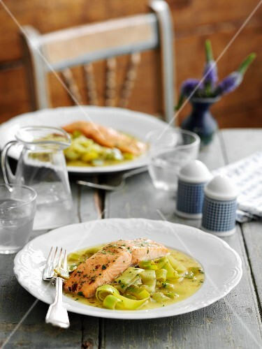 Salmon in a ginger and lemon sauce on a bed of leek