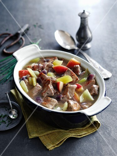 Braised pork with apples, celery, cider and mustard