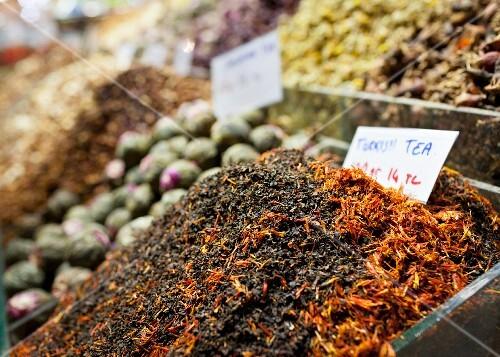 Varieties of loose tea at a street market in Istanbul, Turkey