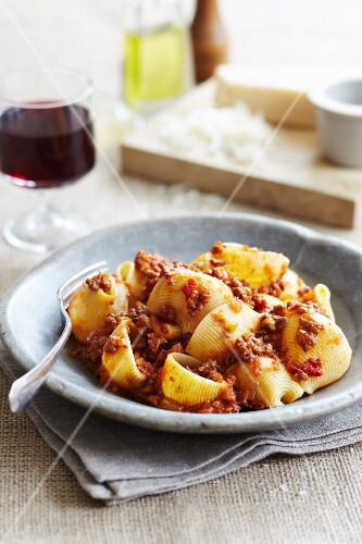 Conchiglie pasta with minces beef and a tomato ragout