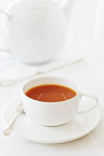 A cup of redbush tea with milk